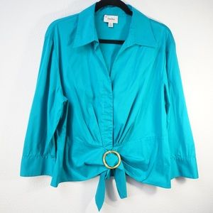 Neiman Marcus Exclusive Teal Blouse Size XL